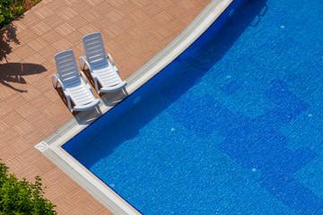 summertime - swimming pool bird's eye view