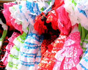 Typical colored Spanish flamenco dress, Andalusia, Spain