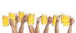 canvas print picture - viele Hände mit Mass Bier gehen nach oben