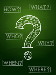 question sign and question words over green blackboard