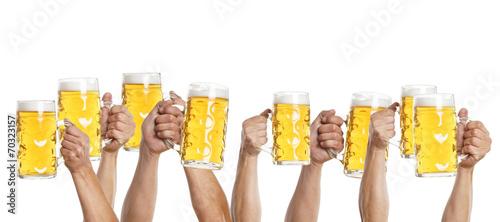 canvas print picture viele Hände mit Mass Bier gehen nach oben
