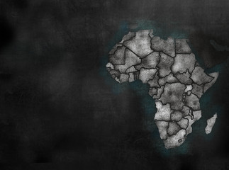 Africa African Continent map in colorful chalkboard style with C