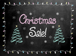 Blackboard or Chalkboard sign with the words Christmas Sale