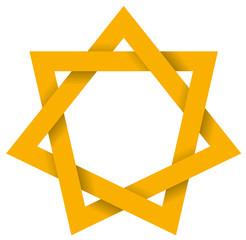 Gold Heptagram 3D