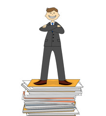 A successful businessman standing on a pile of documents