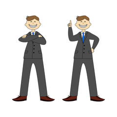 A  confident businessman, two poses