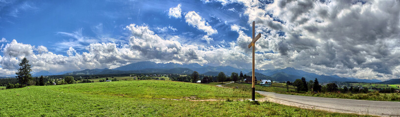 Tatra Mountains - Panorama with cross and view on Giewont