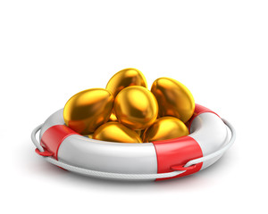 golden easter egg inside lifebuoy