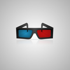 Illustration of black 3d cinema glasses