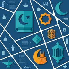 flat infographic: Ramadan Kareem