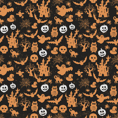 Halloween seamless pattern  on an  black background