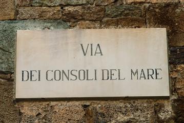 Targa Indicazione Via Consoli del Mare, Pisa