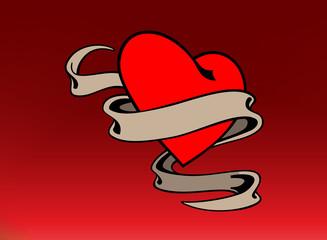 Vector Heart Banner Tattoo