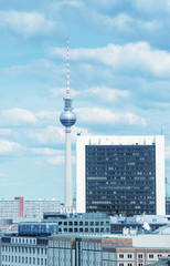 BERLIN - MAY 27, 2012: Beautiful cityscape with main city ladmar