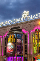 BERLIN - MAY 22, 2012: Friedrichstadt Palast at night. The prese