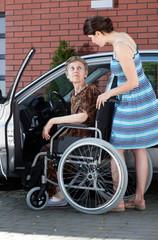 Senior female driver on wheelchair