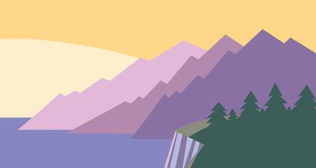 Graphic Landscape with Scenic Sunset/Sunrise