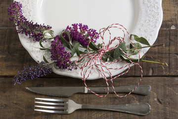 place setting and flowers
