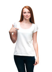 Red-haired girl showing thumbs up. Isolated on white background