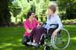 canvas print picture - Senior woman on wheelchair with caring caregiver