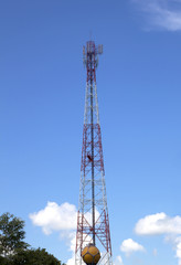 tall telecommunication with antennas on blue sky