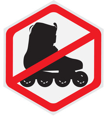 No, roller, skating, hexagon, sign