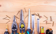 construction tools collage background