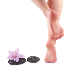 Female feet and Spa stones with spa flower