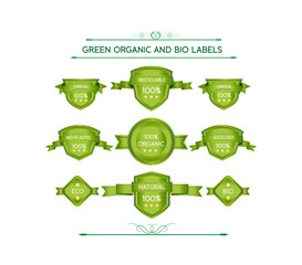 Green organic and bio labels