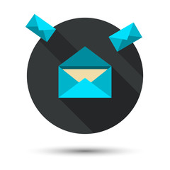 The mail icon with long shadow