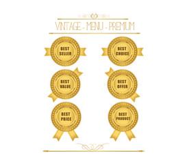 Set of blank round polished gold metal badges on white