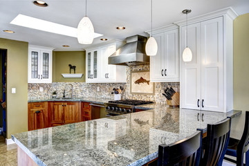 Modern house interior. Kitchen room with shiny granite tops and