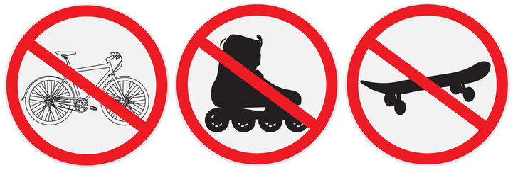 No bikes, ride, roller, allowed, sign