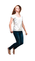 Jumping girl in a white T-shirt. Isolated on white background