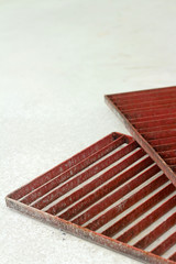 steel grating red on a white background.