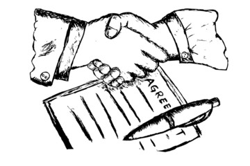 Two hand shaking after make a business agreement