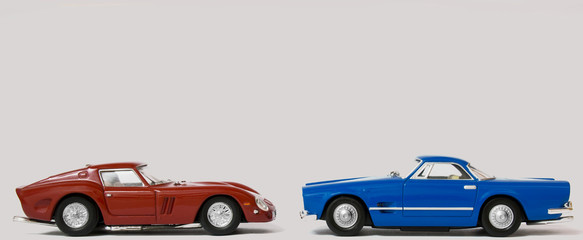 Red and Blue Classic Sports Cars