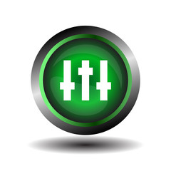 Equalizer green circle icon vector