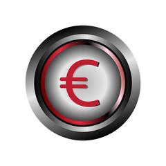 Glossy round button Euro symbol vector