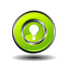 Light lamp sign green icon. Idea symbol. Light is on