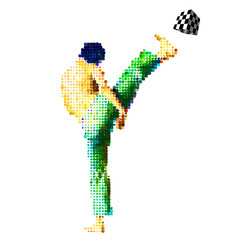 Vector soccer player with made o scattered cubes