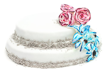 Handmade cake with decoration of flowers