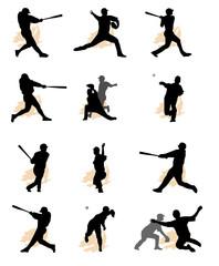 set of baseball silhouette