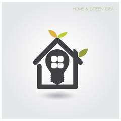 Green energy home concept ,house and garden symbol.