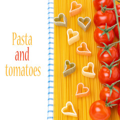 spaghetti, cherry tomatoes and pasta in the form of hearts