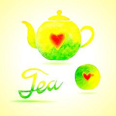 Tea set. Design elements painted in watercolor.
