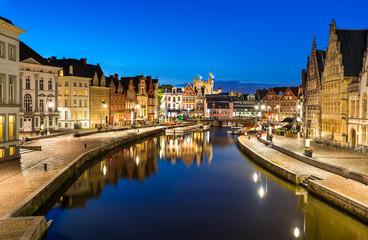 Graslei in Ghent, twiligh Belgium