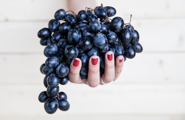 Sweet tasty grapes in graceful woman's hand