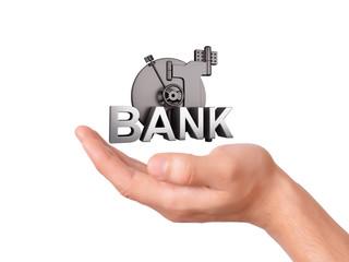 hand holding Bank Safe on white Background