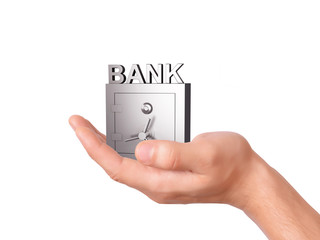 hand holding Bank Safe on white Background